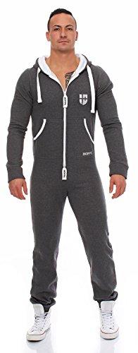 Gennadi Hoppe Herren Jumpsuit Onesie Jogger Einteiler Overall Jogging Anzug Trainingsanzug Slim Fit,grau,X-Large - 5