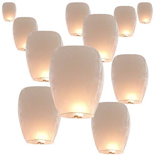 30 Pack Sky Lanterns Paper Chinese Lanterns 100% Biodegradable Environmentally Friendly, Flying Wish Lanterns for Wedding, New Year, Birthday Party Celebration