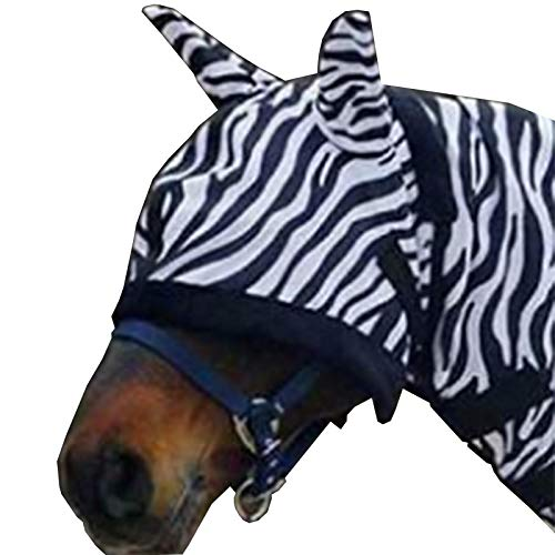 White Horse Equestrian Anti Fly Horse Pony Mask Stable Yard Animal Print Protection