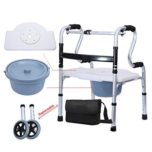 Silla de Ruedas Wheelchair Sillas de Ruedas Andador Plegable, Discapacitado Y Anciano Caminador Plegable Con Polea Baño Sentado Y Orinal Rehabilitación De Bastón De Cuatro Patas Para Andar, Ajustable