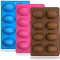 SENHAI 3 moldes de silicona en forma de huevo, molde para hornear de 8 cavidades para chocolate, pasteles, magdalenas, pan, cubitos de hielo, jabón, rosa, azul, marrón