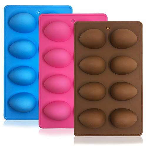 SENHAI 3 moldes de silicona con forma de huevo, 8 cavidades de grado alimenticio para decoración de tartas, chocolate, pasteles, magdalenas, pan, cubitos de hielo, jabón, rosa, azul, marrón