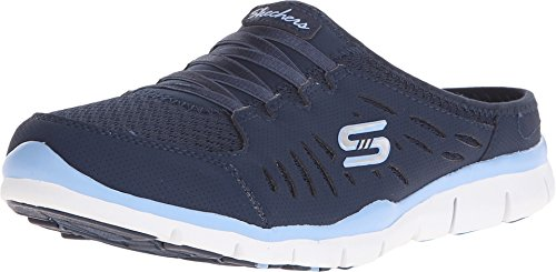 Skechers Sport Women's Gratis-No Limits Slip-On Mule, Navy/Light Blue, 6 Wide