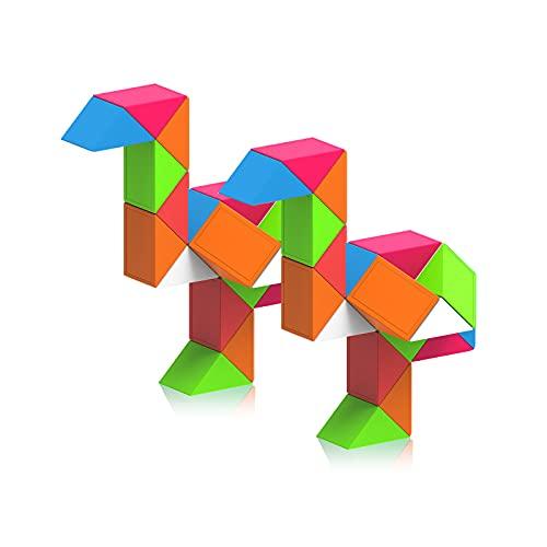 ROXENDA Magic Snake con 24 Segmentos, 3D Magic Snake Cube - Puzzle Games IQ Toy, Regalo Ideal para Children's Day, Birthday, Easter y Christmas - 2 Pack (Arcoíris)