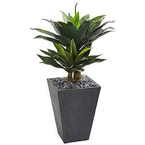 "Silk Flower Arrangements Nearly Natural 37"" Double Agave Succulent Artificial Slate Planter Silk Plants Green"