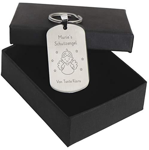 LAUBLUST Schutz-Engel Schlüsselanhänger mit Gravur | Personalisiertes Geschenk | Silberfarbig, inkl. Geschenkbox