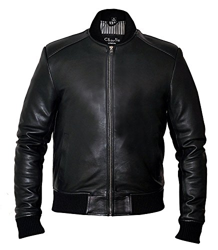 Sand Style Bomber Giacca in pelle - Slim Fit Giacche in pelle Mens Nero XXXXL