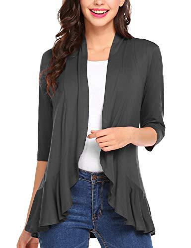 Zeagoo Women's Open Front Cardigan 3/4 Sleeve Draped Ruffles Kimono Soft Knit Sweaters Dark Grey XXL