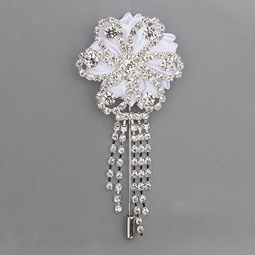 Guiping Broche con borla de diamante de satén para boda, ramillete de flores de marfil, para decoración de boda (color: blanco)