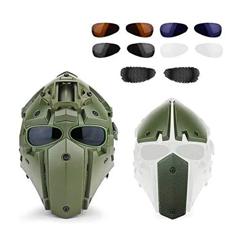 Feeyond Protección Táctica De Casco Y Gafas De Casco Táctico De Cara Completa, Casco De Paintball De Caza Airsoft con Gafas Visor, para Accesorios De Película CS Moto Cosplay,Verde