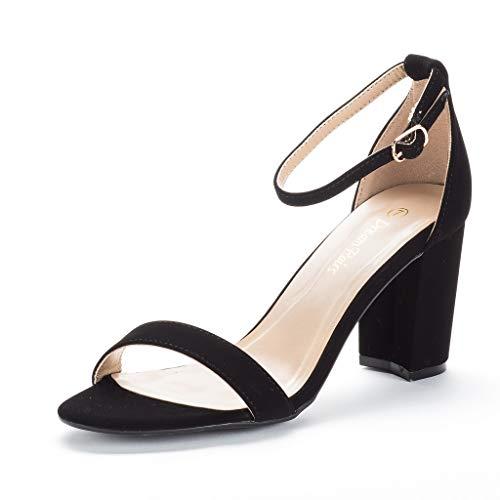 DREAM PAIRS Women's Chunk Black Nubuck Low Heel Pump Sandals - 5 M US