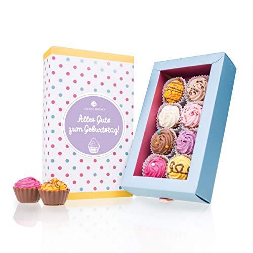 8 American Cupcakes - Geburtstag - 8 Cupcake Pralinen | originelle Süßigkeiten | besondere Pralinen als Geburtstagsgeschenk | Alles Gute zum Geburtstag Schokolade