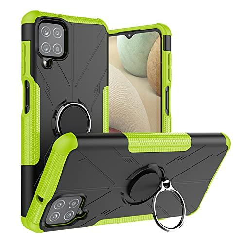 DWaybox Custodia per Samsung Galaxy A12 5G 6,5 pollici, compatibile con supporto magnetico per auto, cavalletto ad anello rotante a 360 °, copertura antiurto resistente a doppio strato 2in1 -verde
