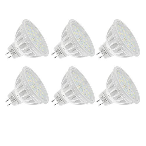 Uplight MR16 LED Bombillas Gu5.3 Destacar,5.5W Blanco Natural 4000K Equivalente 60W Luz Halógena,Ra85 600LM DC12V,6 Piezas.