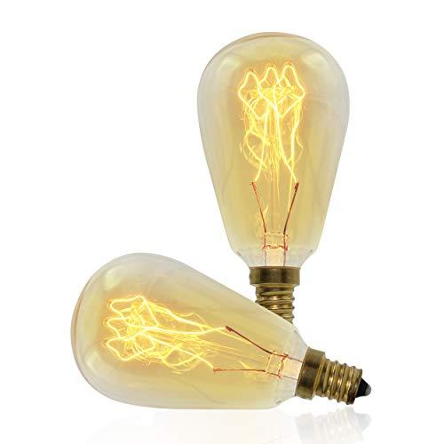 Vintage Retro Edison Bulb, ST45, 40w, E12 Base (Small), 2-Pack