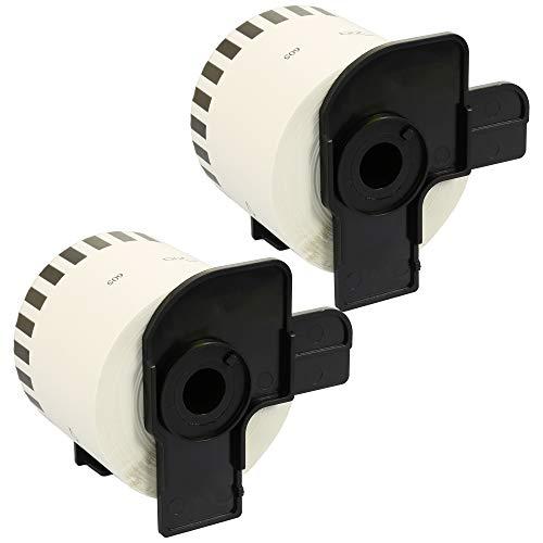 2x Rodillo Compatible DK-44605 Etiquetas removible compatibles para Brother P-Touch QL-500 QL-550 QL-560 QL-570 QL-700 QL-710W QL-720NW QL-800 QL-810W QL-820NWB QL-1050 1100 1110NWB, Amarillo