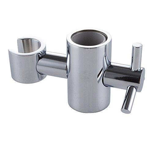 KES Duschkopfhalterung Handbrause Halterung Duschhalterung Messing 25 mm Badezimmer Dusche Brausehalter Ersatz für Duschstange Verstelltbar Halter Poliert Chrom, PB5-CH