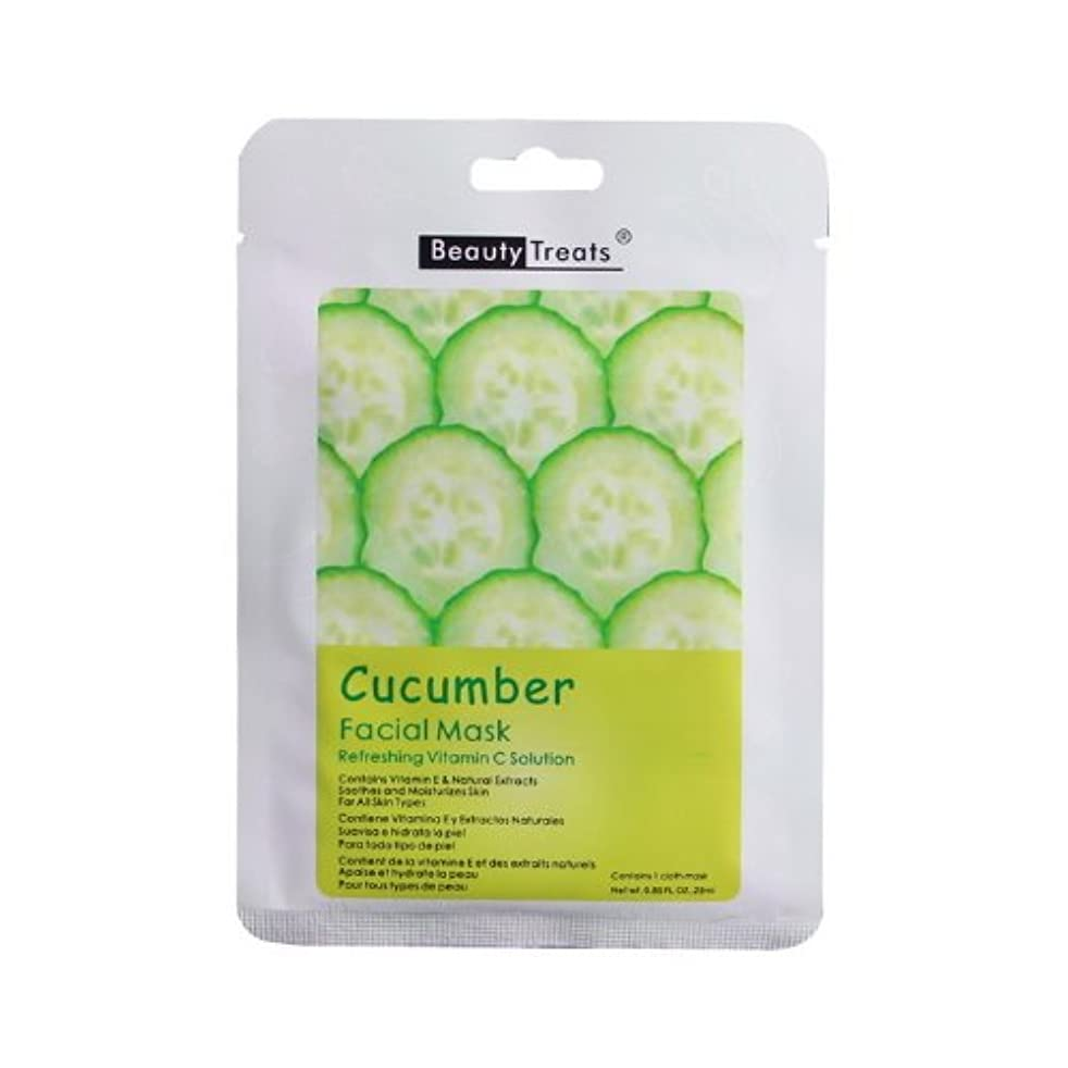 富山岳レプリカ(6 Pack) BEAUTY TREATS Facial Mask Refreshing Vitamin C Solution - Cucumber (並行輸入品)