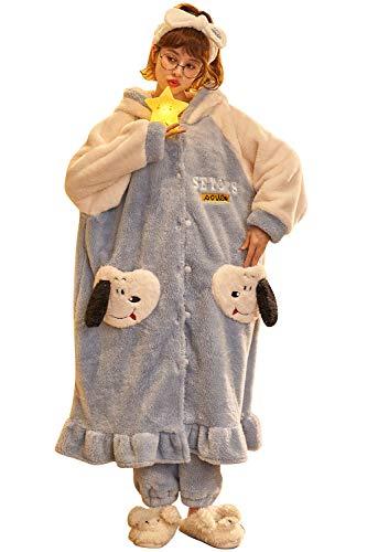 YAOMEI Herren Damen Morgenmantel Bademäntel Kapuze, Winter Vlies Nachtwäsche Nachthemd Robe Negligee locker Schlafanzug für Spa Hotel Sauna, Party, Shower Taste (Hund, XL)