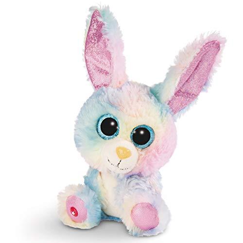 NICI Glubschis Kuscheltier Hase Rainbow Candy 15cm, Plüschtier mit großen Glitzeraugen 45561, Bunt/Pink