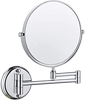 Wall Mount Magnified Mirror, Extendable Arms 360 Degree Revolve Chrome Makeup Mirror,1x-3X Double Sides Available Vanity Mirror, 8-Inch
