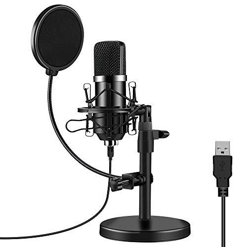 ARCHEER Microfono PC, microfono USB condensatore professionale per computer 192 KHz/24 bit cardioide Micro da tavolo con supporto, filtro Pop per streaming gaming podcasting Youtube Skype