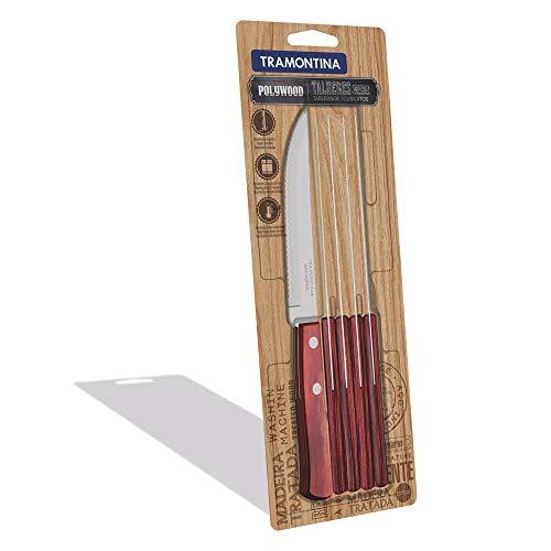 Domestic by Mäser, Serie Polywood, Steakmesser 21 cm im 6-er Set, edles Steakbesteck aus rostfreiem Edelstahl