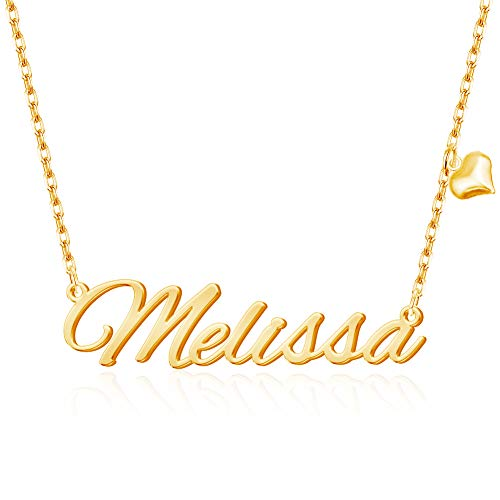 MeMoShe Name Necklace Personalised, Custom Necklace with Heart, Personalised Mothers Day Gifts,Personalised Jewellery for Women