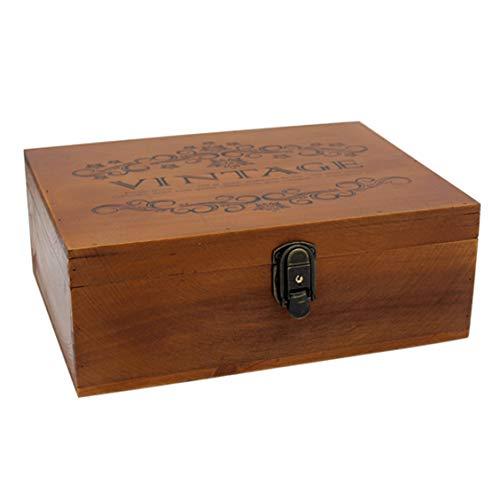 VKSG Caja de almacenamiento de madera vintage con tapa con bisagras, decoración de madera para joyas, maquillaje y té (32,5 x 23,5 x 12 cm)