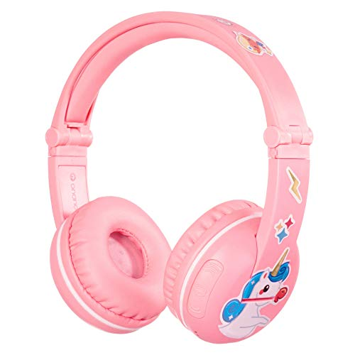 BuddyPhones Play, Wireless Bluetooth Volume-Limiting Kids Headphones, 18-Hour Battery Life, 4 Volume Settings, Includes BuddyCable for Sharing, Pink