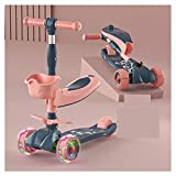 Scooter para niños de 4 ruedas, adecuado para niñas y niños de 1 a 12 años, scooter para niños ajustable de cuatro velocidades, plegable, ruedas intermitentes de PU, soporte de carga de 100 KG