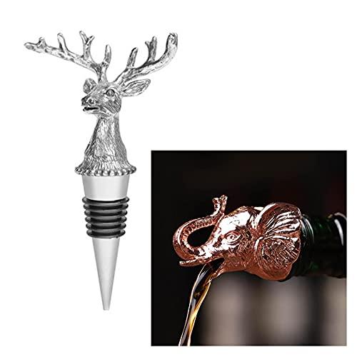 JINGFEI Vertedor de Vino con Forma de Animal Creativo Tapón de Vino Completamente Sellado Tapón de Botella de aleación de Zinc 2 ensamblajes