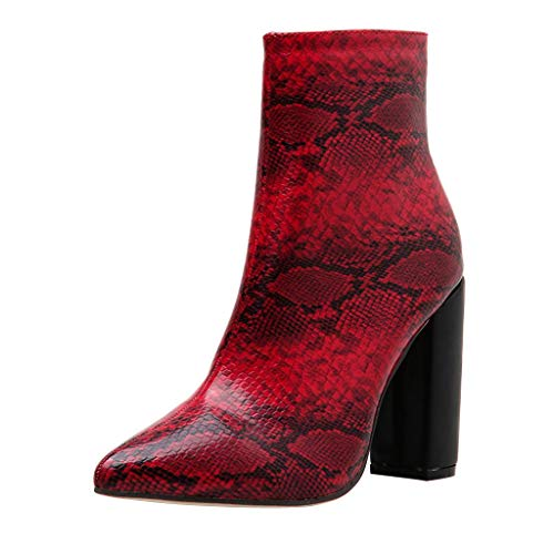 New Boots for Women, FAPIZI Women Snakeskin Boots Pointed Toe Chunky Heels Square Heel Platform Side...