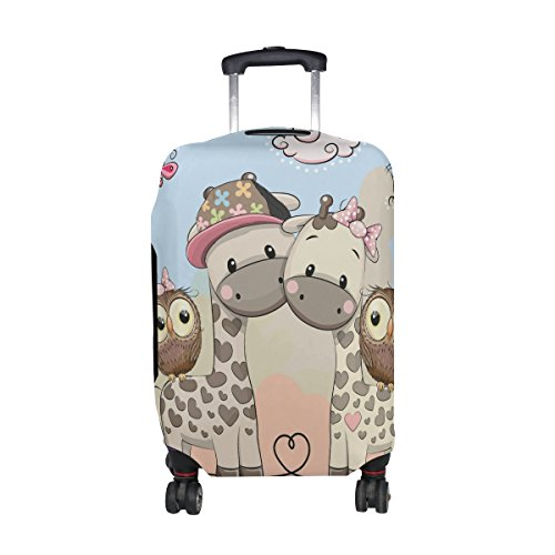 DAFARUYI Luggage Cover Cute Giraffes and Owls Suitcase Protector Cover Elastic Fits 18-32 Inch