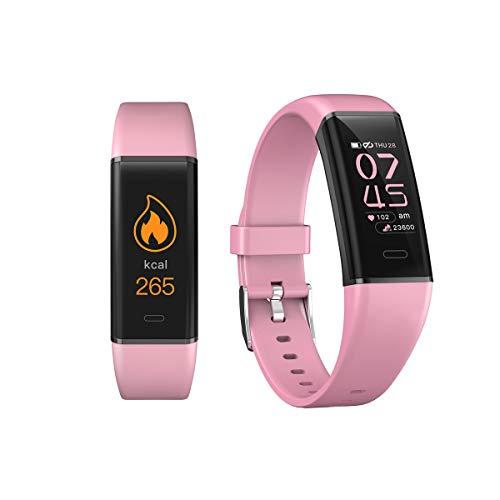Greetuny Reloj Inteligente Unisex,Rastreador de Actividad física, Monitor de Ritmo cardíaco, Pulsera Inteligente, podómetro de presión Arterial para Android iOS (Rosa)