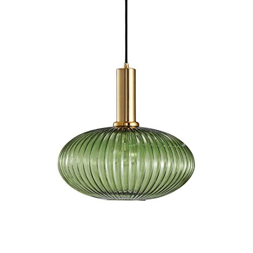 Dongyd Industrielle Vintage Große Anhänger Beleuchtung Modernen Retro-Stil Drop Decke Hängelampe Grünem Glasschirm Mit Poliertem Messing Lampenfassung (Color : Green)