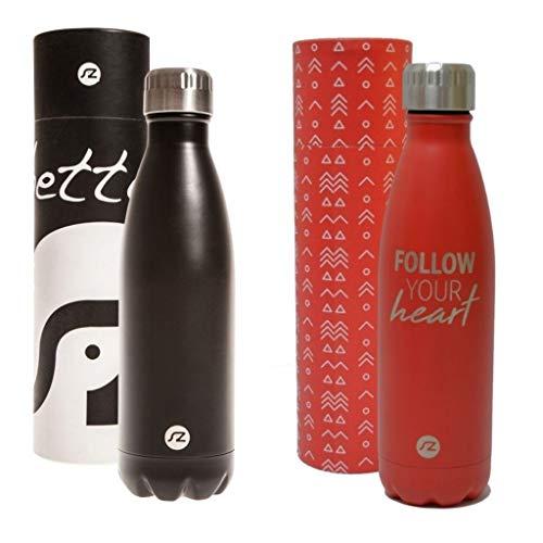 Sternitz Botella de Agua Hydra Acero Inoxidable con Aislamiento al vacio. Mantiene Tus Bebidas frías por 24 Horas y Calientes por 12 Horas. (Pack Negro - Rojo)