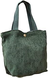 NV N/V Literarische Kordsamt-Mini-Handtasche für Damen, tragbare Lunchbox-Tasche, für Studenten, Kinder, Thermotasche, faltbar, Segeltuch, Dunkelgrün,
