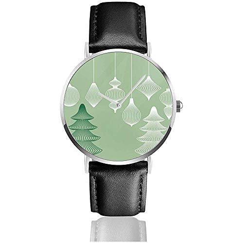 Geometric Christmas Ornaments Set Women Men Casual PU Leather Strap Watch Wrist Watch Black