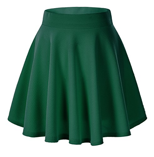 Urban CoCo Women's Basic Versatile Stretchy Flared Casual Mini Skater Skirt (Medium, Green)