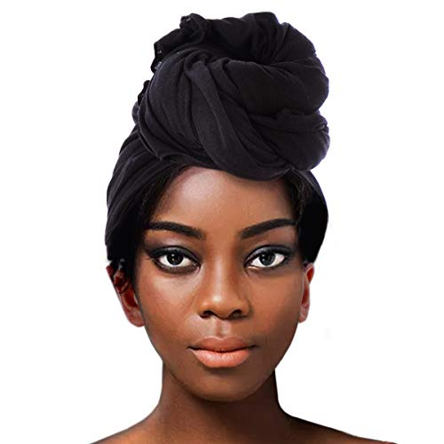 ACRABROS Stretch Jersey Turban Head Wrap, Urban Hair Scarf - Ultra Soft, Extra Long,Breathable,Black