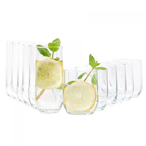 Van Well 12-TLG. Gläserset Bella | 6 Wasser Trink-Becher + 6 Long-Drink Partygläser | 310 ml | Tumbler aus Glas | Gastro