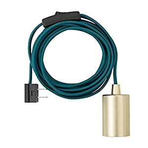 """Globe Electric 69997 Emile 1-Light Plug-In Exposed Pendant, 15-ft Teal Cloth Cord, In-Line On/Off Rocker Switch, Brass Socket, 180"""""""