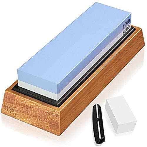 Muela de piedra 1000/6000 con la guía de ángulo, antideslizante de bambú Base, nivelación de piedra agua es adecuada for cocinas. (Color : Blue White)