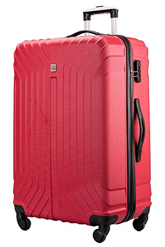 Flymax 29' Large Suitcases on 4 Wheels Lightweight Hard Shell Luggage Durable Check in Hold Luggage Built-in 3 Digit Combination Red