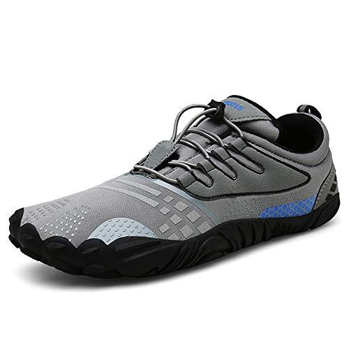 FOGOIN Barfußschuhe Herren Damen Outdoor Fitnessschuhe Laufschuhe Minimalistische Sneaker im Sommer Gr.37-47, Grau, 46 EU