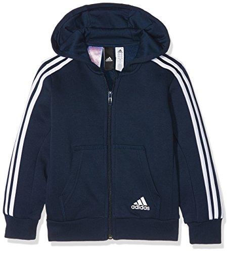adidas Jungen 3 Stripes Fleece Full Zip Hooded Kapuzen-Jacke, Collegiate Navy/White, 128