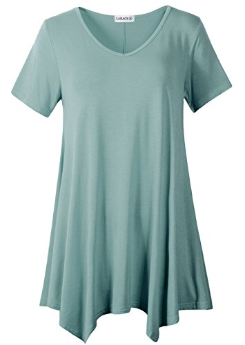 LARACE Womens V Neck T Shirts Casual Loose Fit Short Sleeve Tunic Plus Size Tops for Leggings(Grayish Green 2X)