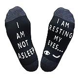 Salamola 'I am NOT asleep,I am resting my eyes' Funny Socks Novelty Cotton Socks(Black)