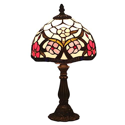 8 Pulgadas Lámpara De Mesa del Estilo De Tiffany, Patrón De Flor De Pantalla De Lámpara De Escritorio Luz De La Decoración para El Estudio Habitación Sala Antiguo del Escritorio Leer